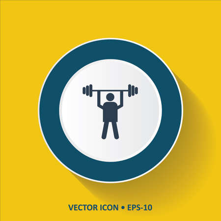 weight lifter: Blue vector Icon of Weight Lifter on Yellow Color Background with Long Shadow. Eps.10. Illustration