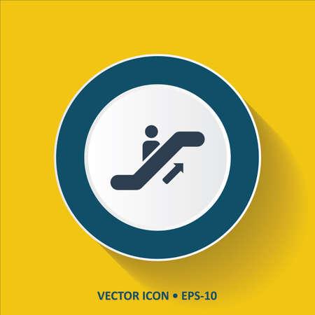 Bleu vecteur Icône de l'escalier sur fond de couleur jaune avec Long Shadow. Eps.10. Banque d'images - 43266244
