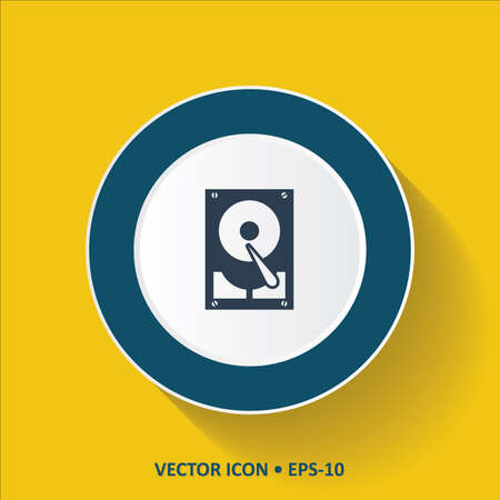 harddrive: Blue vector Icon of Hard Disc Storage Device on Yellow Color Background with Long Shadow. Eps.10.