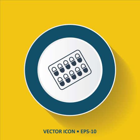 pilule: Blue vector Icon of Medicines on Yellow Color Background with Long Shadow. Eps.10.