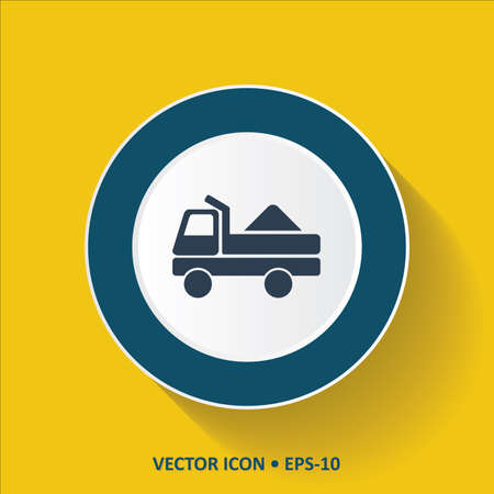 luggage carrier: Blue vector Icon of Truck on  Yellow Color Background with Long Shadow. Eps.10.