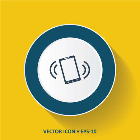 Blue vector Icon of Mobile Phone On Vibration Mode on  Yellow Color Background with Long Shadow. Eps.10.