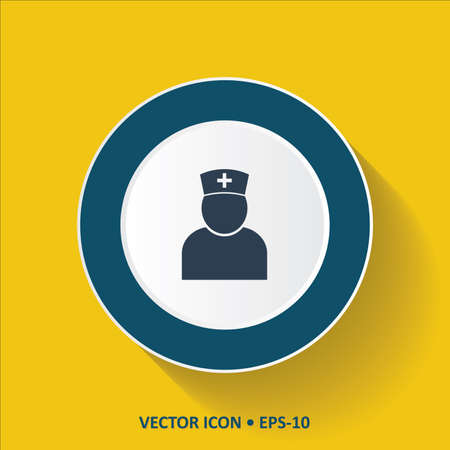 Blue vector Icon of Nurse on  Yellow Color Background with Long Shadow. Eps.10.