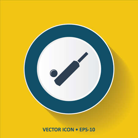 cricketer: Blue vector Icon of Cricket Bat  Ball on  Yellow Color Background with Long Shadow. Eps.10.