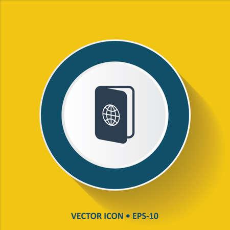 pasaporte: vector icono azul de pasaporte en el fondo de color amarillo con una larga sombra. Eps.10.
