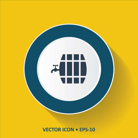 tun: Blue vector Icon of Beer Barrel on  Yellow Color Background with Long Shadow. Eps.10. Illustration