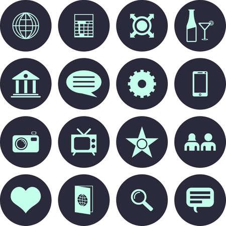 Very Useful 16 Web Icon Set. Design element vector illustration-Eps-10. Illustration