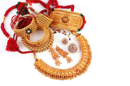 diamond jewellery: All Mix Indian Traditional Gold Jewellery Isolated On White Stock Photo