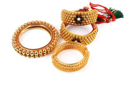 wristlet: Traditional Indian Isolatedon White Gold Bangles