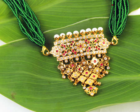 costume jewellery: Indian Traditional Jewellery Necklace Isolated