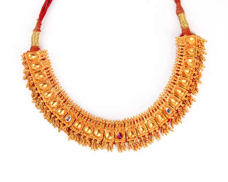 costume jewellery: Indian Traditional Jewellery Necklace Isolated on White Stock Photo