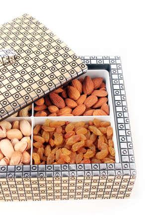 Nuts box on white background. Dry Fruit Box. Stock Photo