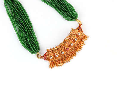Indian Traditional Jewellery Necklace Isolated on White Stock Photo