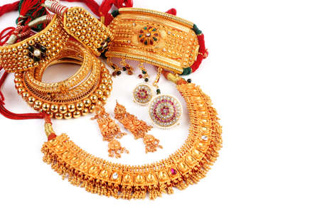All Mix Indian Traditional Gold Jewellery Isolated On White Stock Photo
