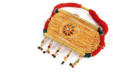 arm bands: Indian Traditional Jewellery Bajuband, Baju Bandh For Arm Isolated on White Stock Photo
