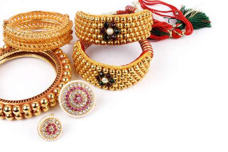 wristlet: Indian Traditional Gold Jewellery Bangles  Forehead Tika