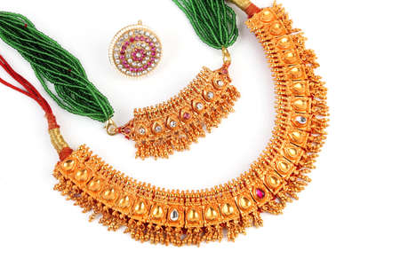 costume jewellery: Indian Traditional jewellery necklace  Forehead Rakhadi isolated on white