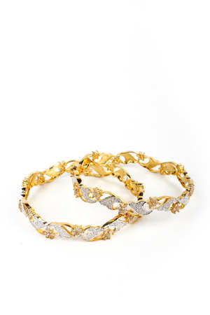 Indian Bangles. Bracelet with diamonds on a white background