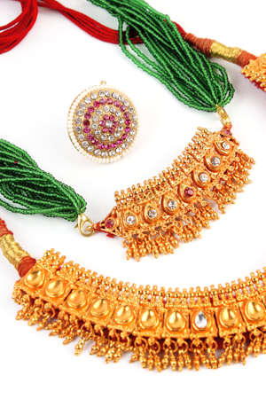 Indian Traditional jewellery necklace  Forehead Rakhadi isolated on white