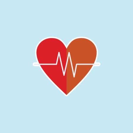 Flat icon of Heart Pulse Illustration
