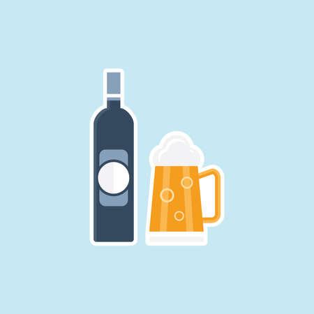 bier festival: Flat icon of Beer Bottle Mug