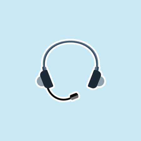 Flat icon of Headphone Illustration