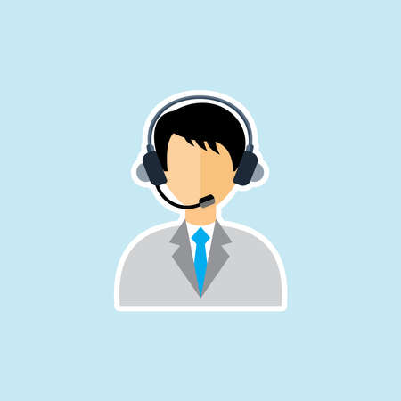 Flat icon of call center operator with headset