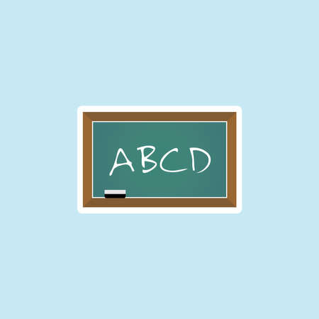 Flat icon of ABCD On Green Board.
