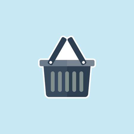 Flat Icon Of Shopping Basket Illustration