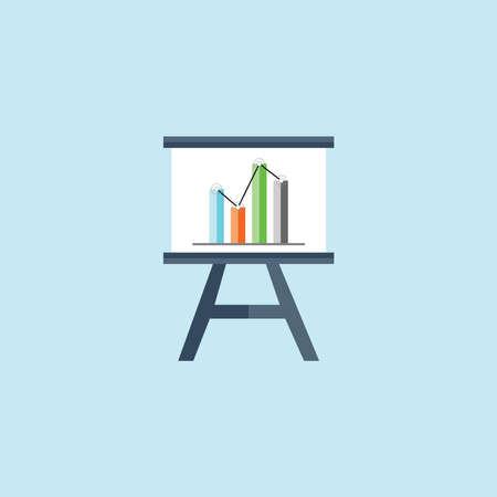 Flat Icon Of Presentation Chart Illustration