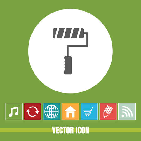 very Useful Vector Icon Of Roller Paint Brush with Bonus Icons Very Useful For Mobile App, Software & Web