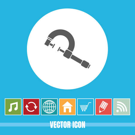 very Useful Vector Icon Of Clamp with Bonus Icons Very Useful For Mobile App, Software & Web Çizim