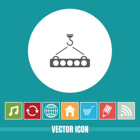 very Useful Vector Icon Of Crane Hook with Bonus Icons Very Useful For Mobile App, Software & Web Ilustração