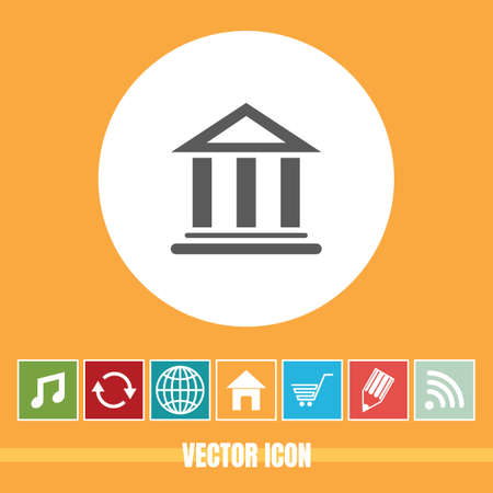 very Useful Vector Icon Of Bank with Bonus Icons Very Useful For Mobile App, Software & Web