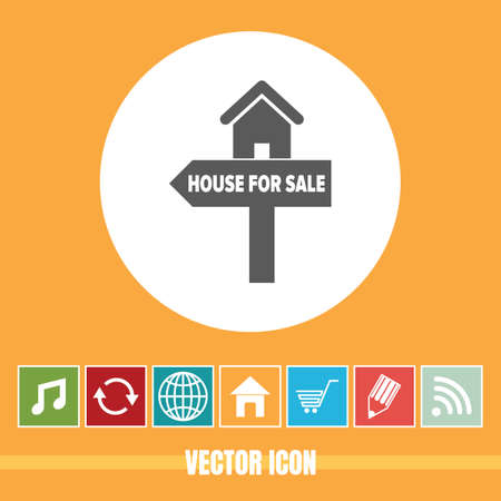 very Useful Vector Icon Of House for Sale with Bonus Icons Very Useful For Mobile App, Software & Web Illustration