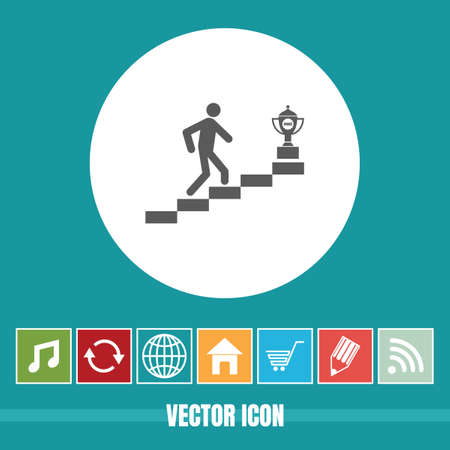 very Useful Vector Icon Of Man Climbing for Trophy with Bonus Icons Very Useful For Mobile App, Software & Web