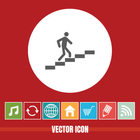 very Useful Vector Icon Of Man Climbing on Stairs with Bonus Icons Very Useful For Mobile App, Software & Web