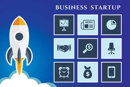 Business Start up concept poster. Imagens - 128471649