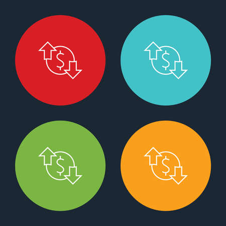 Very Useful Dollar Up & Down Line Icon On Four Color Round Options.