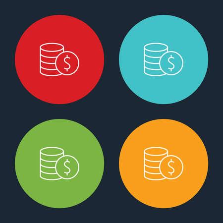 Very Useful Line Dollar Coin Icon On Four Color Round Options. Ilustração