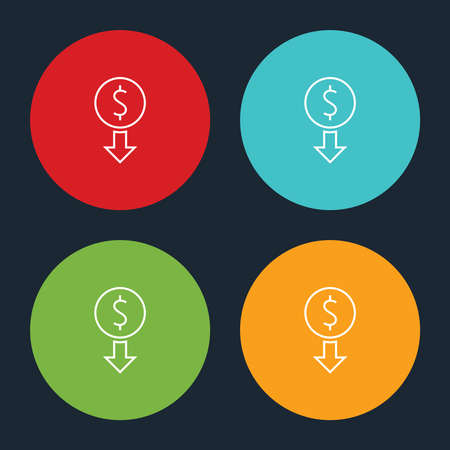 Very Useful Dollar Down Line Icon On Four Color Round Options. Ilustração
