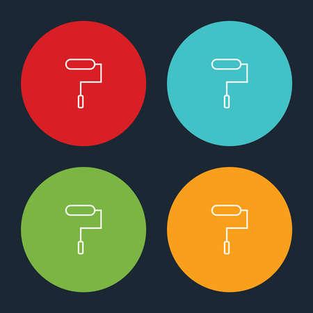 Very Useful Roller Brush Paint Line Icon On Four Color Round Options. Ilustração