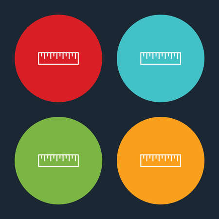 Very Useful Ruler Line Icon On Four Color Round Options.
