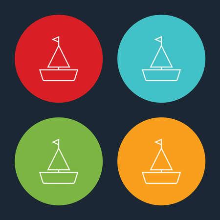 Very Useful Sailboat Line Icon On Four Color Round Options. Ilustração