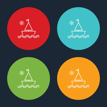 Very Useful Sailboat & Sun Line Icon On Four Color Round Options.