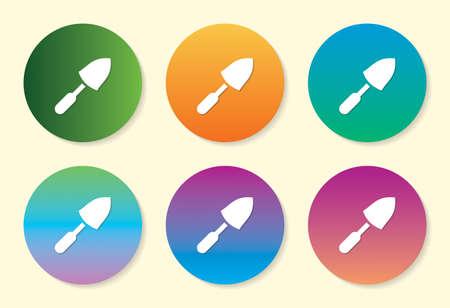 Trowel six color gradient icon design.