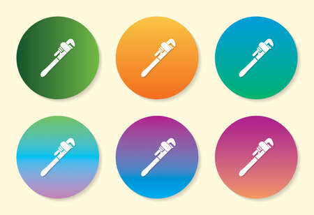 Wrench six color gradient icon design. Banque d'images - 137090439
