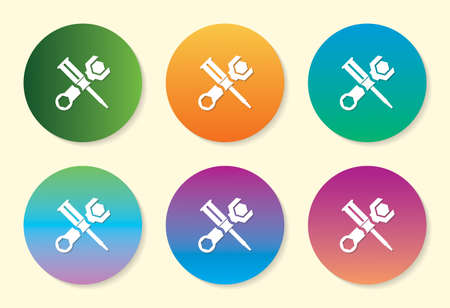 Tools six color gradient icon design.