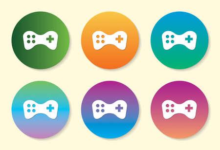 Joystick six color gradient icon design.