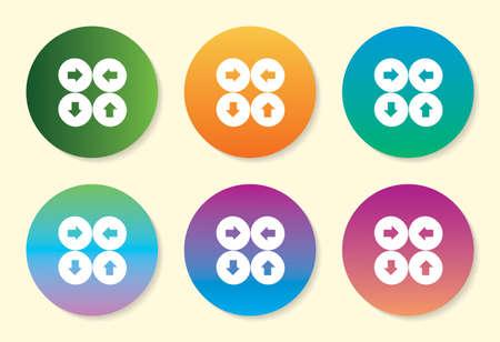 Four Arrow six color gradient icon design. Ilustração